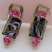 Dramatic Screw On Earrings with Rhinestones and Swirled Glass