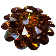 Flashy Amber Multi Rhinestone Brooch