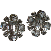 Screw on Circular Clear Rhinestone Earrings
