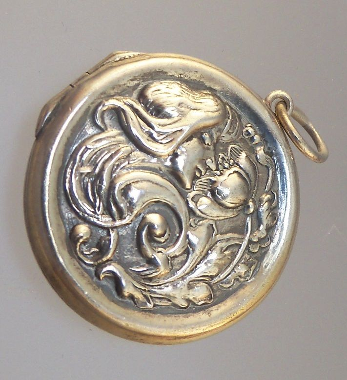 Sterling Locket with Art Nouveau Lady on Front