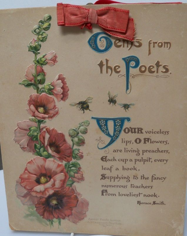 "Flower and Poetry Book Titled ""Gems from the Poets"""