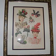 "Custom Framed Magazine Print of ""Midsummer Millinery"" 1897"