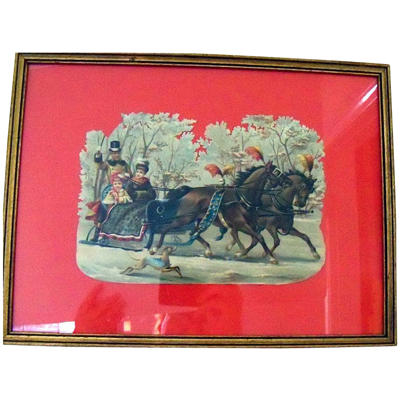 Framed  Victorian Diecut Of  Winter Wonderland  Sleigh Ride