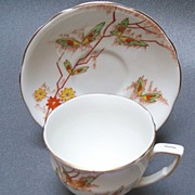 Butterfly Decorated English Cup and Sauce