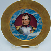 SOLD Napoleon  Decorative Plate with wide gold rim and blue floral center