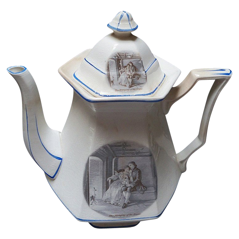 Pottery Coffeepot Courtship of Miles Standish
