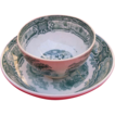 Small Green Transferware Handleless Cup and Saucer