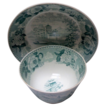 "Green  Transferware Wedgwood Handleless  Cup and Shallow Bowl Saucer ""Landscape"""