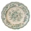 Green Staffordshire Transferware Soup Bowl &quot;Asiatic Pheasants&quot;