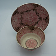 Pink and Black Transferware Cup and Shallow Saucer