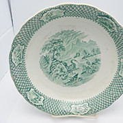 Green Transferware Shallow Bowl  &quot;Ornithology&quot;