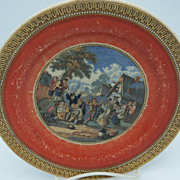 "Decorative Plate Rust with gold and black trim ""Country Scene"""