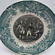 Sarreguemines Green Transferware Napoleon Plate