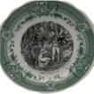 Napoleon French Green Transferware Plate