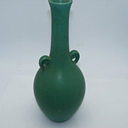 Blue Green Two Handled Bud Vase