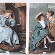 Postcard Cheating Husband Saluting Wife and Mistress
