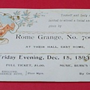Victorian Social and Dance Ticket 1893