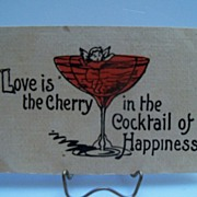 "Postcard ""Love is the Cherry in the Cocktail of Happiness"""