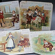 1890 Victorian Calendar Pages with Thanksgiving Theme
