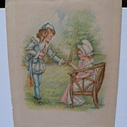 Book Print Boy and Girl in Garden  Artist Signed