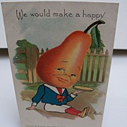 "Postcard Vegetable Head Theme ""Pear"""
