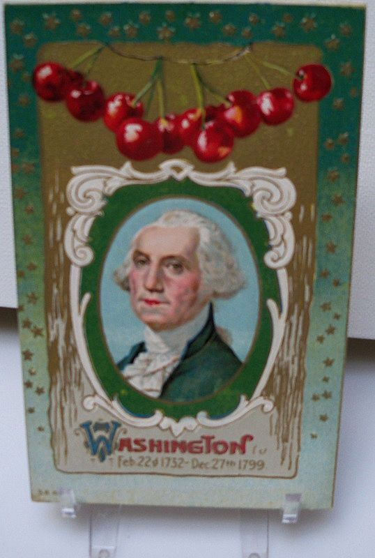 Postcard George Washington with Cherry Design