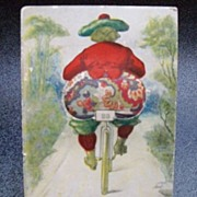 Postcard Woman on Bicycle with Pincushion Bottom
