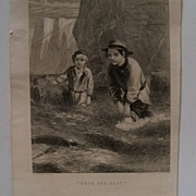 "Steel Engraving Book Print ""Boys and Boat"""