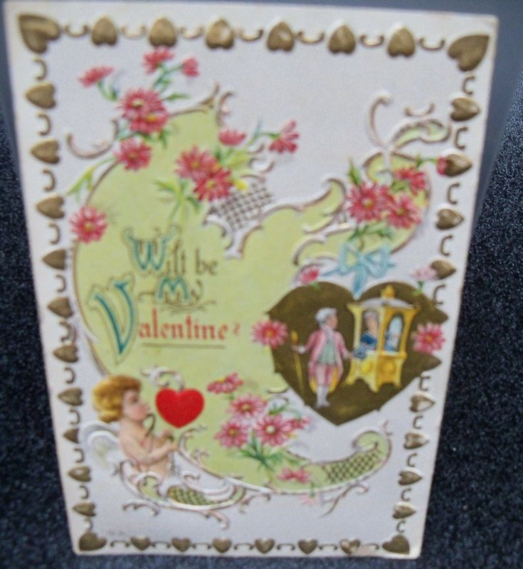 Postcard Embossed Valentine with Hearts and Cupid