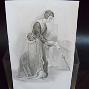 "Book Print Steel Engraving ""The Fatal Letter"""