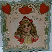 SOLD Embossed Valentine Card with Lovely Girl