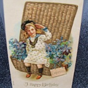 "Postcard Embossed ""A Happy Birthday"""