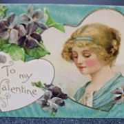 Postcard Valentine Beautiful Lady in Heart