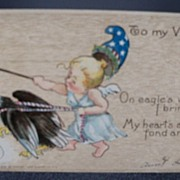 Postcard  Tuck's Valentine Baby Riding Eagle