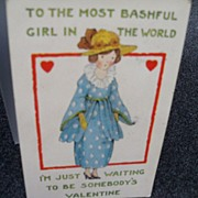 "Postcard Valentine ""Bashful Girl"""