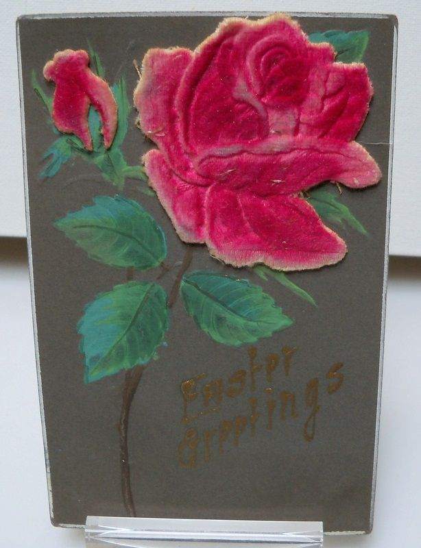 Postcard Velvet Red Rose with Easter Greetings.