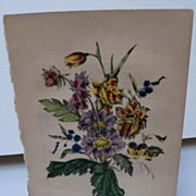 Book Print Early Victorian Bouquet of Flowers