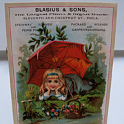 "Advertising Trade Card ""Piano and Organs"""