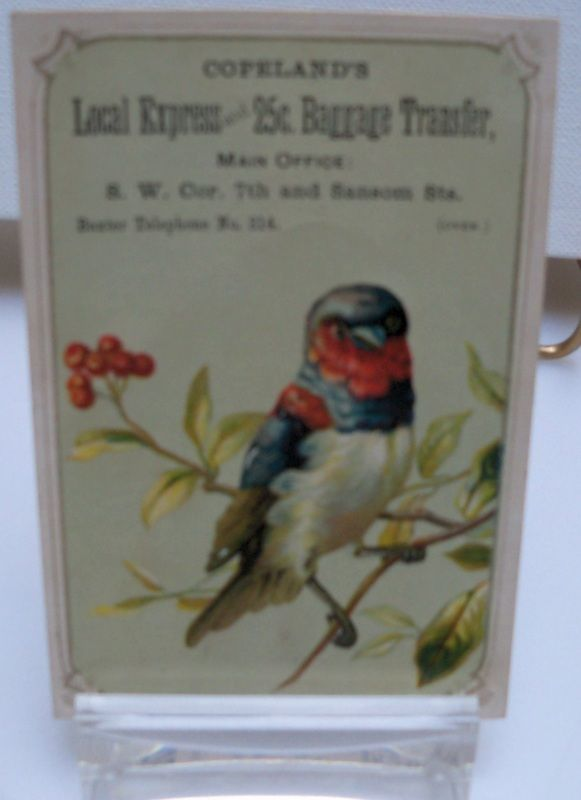 "Advertising Trade Card ""Copeland's Baggage Transfer"""