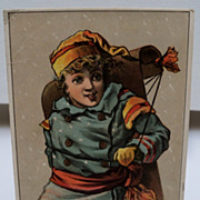 Advertising Trade Card Boy Carrying a Toboggan