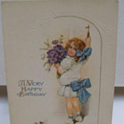 Postcard Little Girl with Birthday Greeting