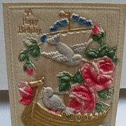 Postcard Roses and Doves Embossed Birthday