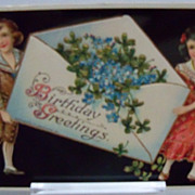 Postcard Glossy Birthday with children holding Birthday Greeting envelope