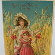 Embossed Postcard Two Little Girl standing  in wheat field