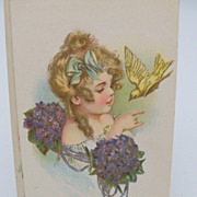 Unsigned Maud Humphrey Postcard &quot;Little Girl and Bird&quot;