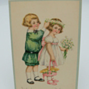 "Happy Birthday Postcard ""Little Boy and Girl"""