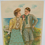 Glamour Couple Embossed Postcard
