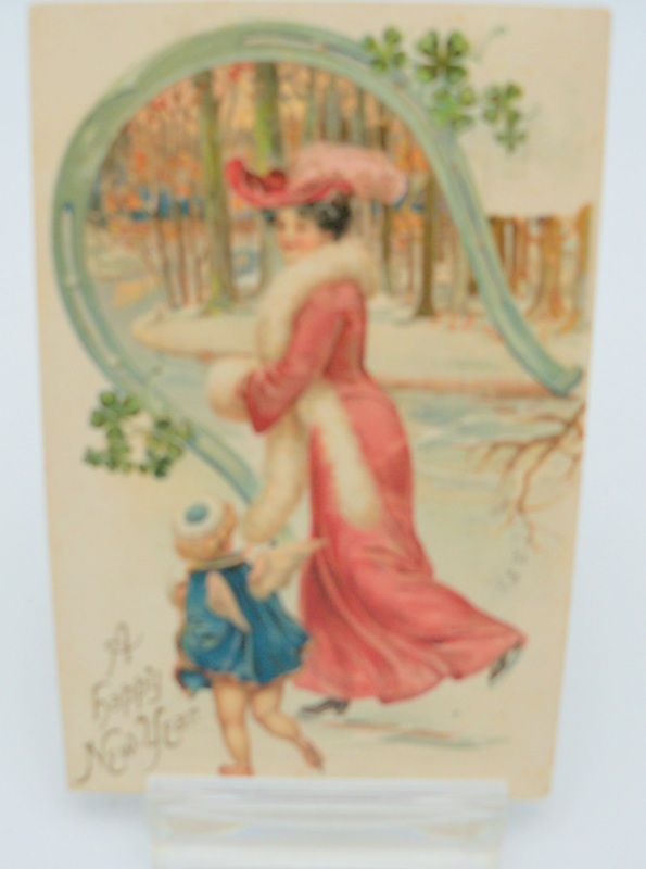 New Year Postcard with Edwardian Mother and Child/Angle