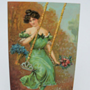 Birthday Greeting Postcard Elegant Lady on Swing