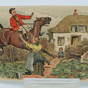 Postcard Fox Hunting Scene Gone Amok